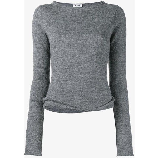 Acne Studios Acne Studios 'Janelle' Sweater ($260) ❤ liked on Polyvore featuring tops, sweaters, long sleeves, shirts, grey, gray top, long sleeve sweater, grey sweater, grey long sleeve top and long sleeve tops