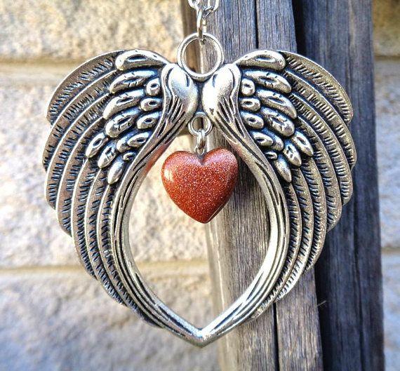 Large Antique Silver Angel Wing  Goldstone Necklace Gemstone
