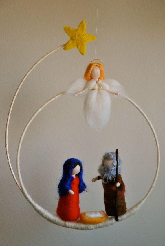 Navidad guirnalda Waldorf inspirado aguja de fieltro: por MagicWool