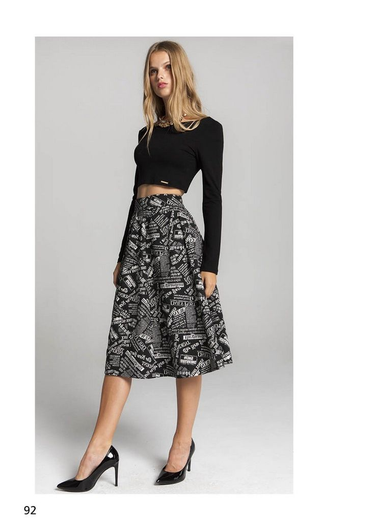 NINA PRINTED SKIRT WITH PLAIN LONG SLEEVE CROPPED TOP