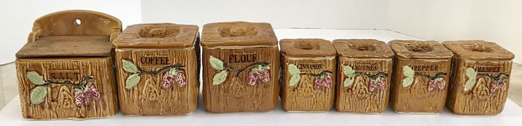 Vintage 7 piece Ceramic Spice Container Set Made in Japan