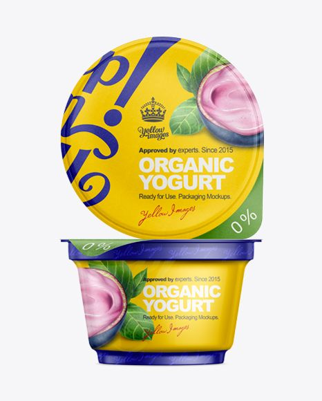 170g Yogurt Cup With Foil Lid Mockup. Preview