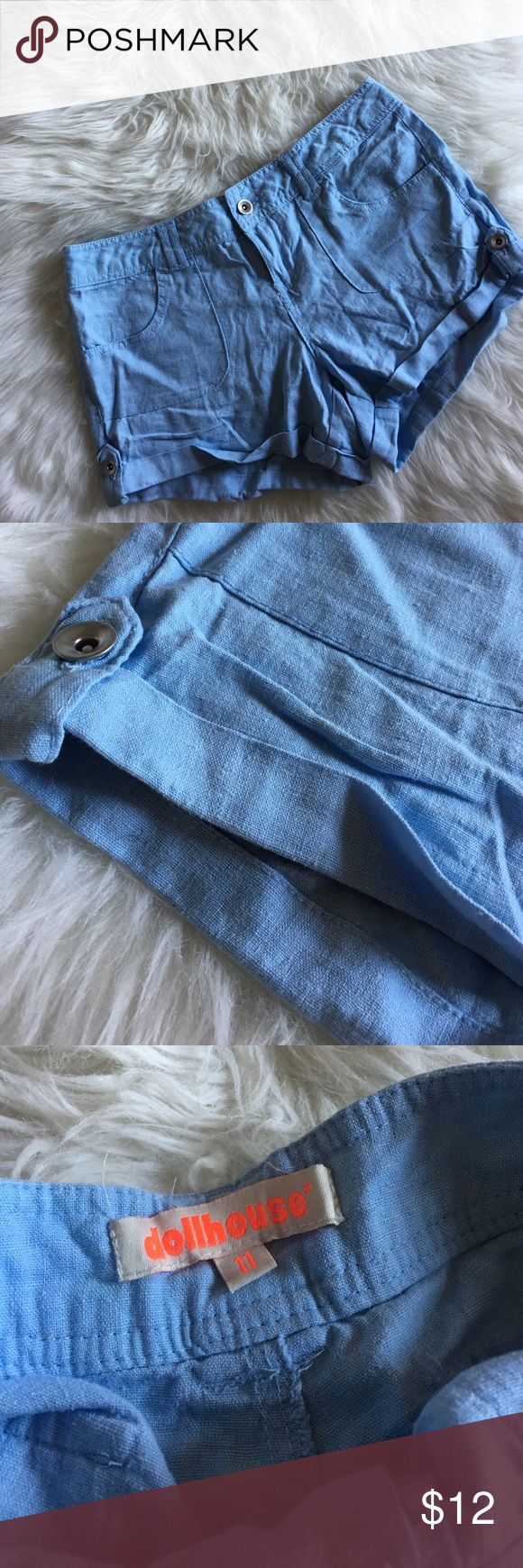 Light Blue Shorts. NWOT. Light blue Dollhouse shorts. Size 11 Dollhouse Shorts