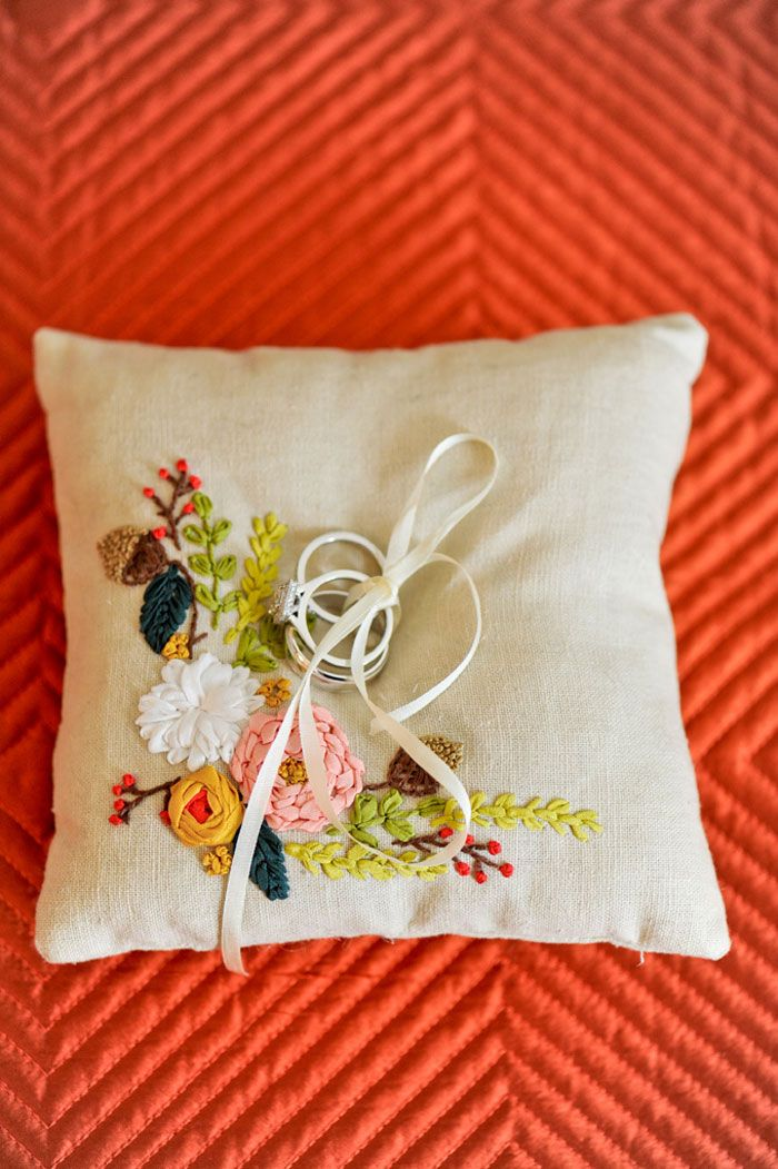 Michelle Edgemont, ring pillow, floral, embroidered