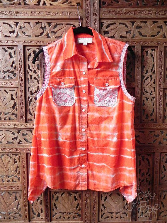GYPSY Upcycled tuniek Lagenlook Top Oranje Tie Dye Top vernieuwde kleren Refashioned gelaagdheid Top Boho maat S-M 'Lolly' door de Gypsy Fae