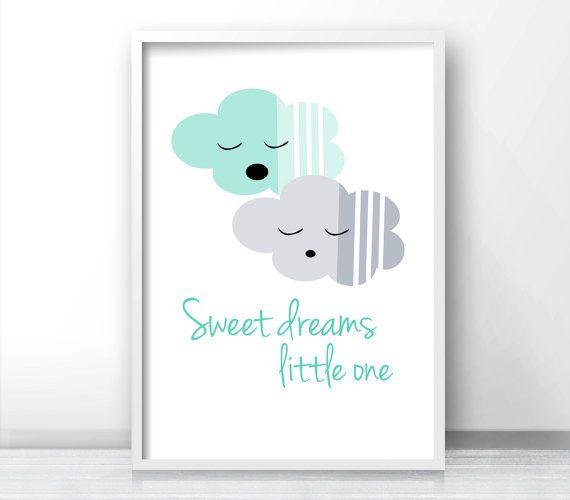 Mint Green And Gray Nursery Decor Sweet Dreams Sign,  Kids Wall Art Print,  Baby Nursery Wall Print, Clouds Nursery Wall Art,  Nursery Print