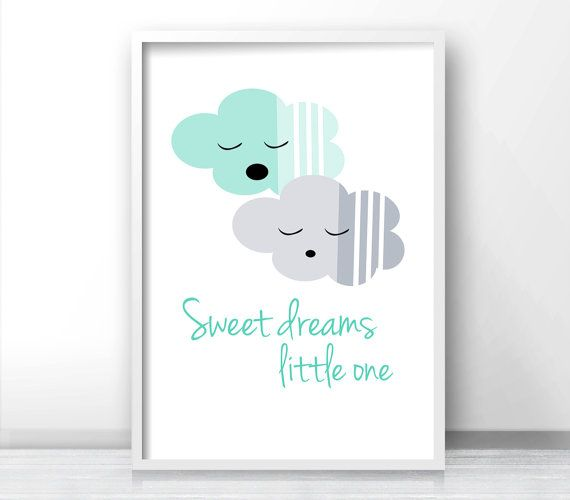 Mint Green And Gray Nursery Decor Sweet Dreams Sign,  Kids Wall Art Print,  Baby Nursery Wall Print, Clouds Nursery Wall Art,  Nursery Print