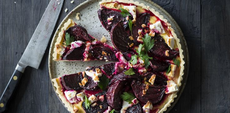 Roast Beetroot + Feta Tart via @iquitsugar
