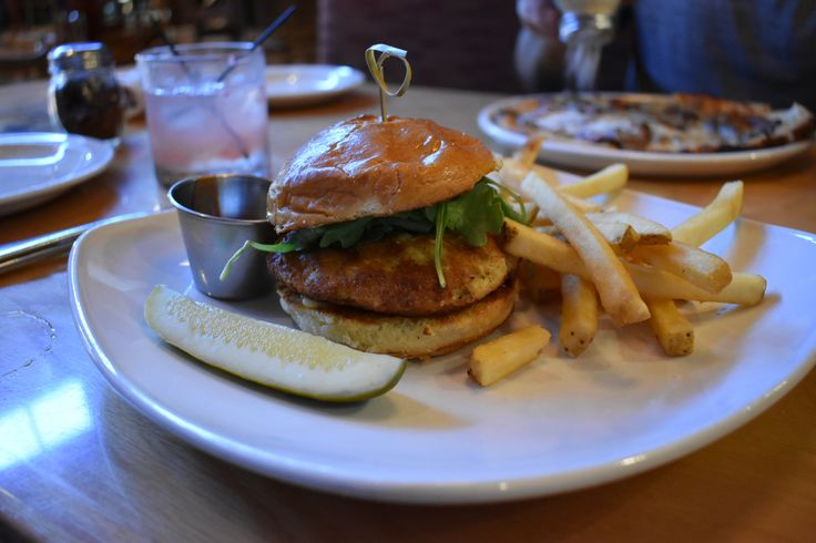 Crab Cake Sandwich with French Fries & Pickle at Matchbox in Rockville, MD.