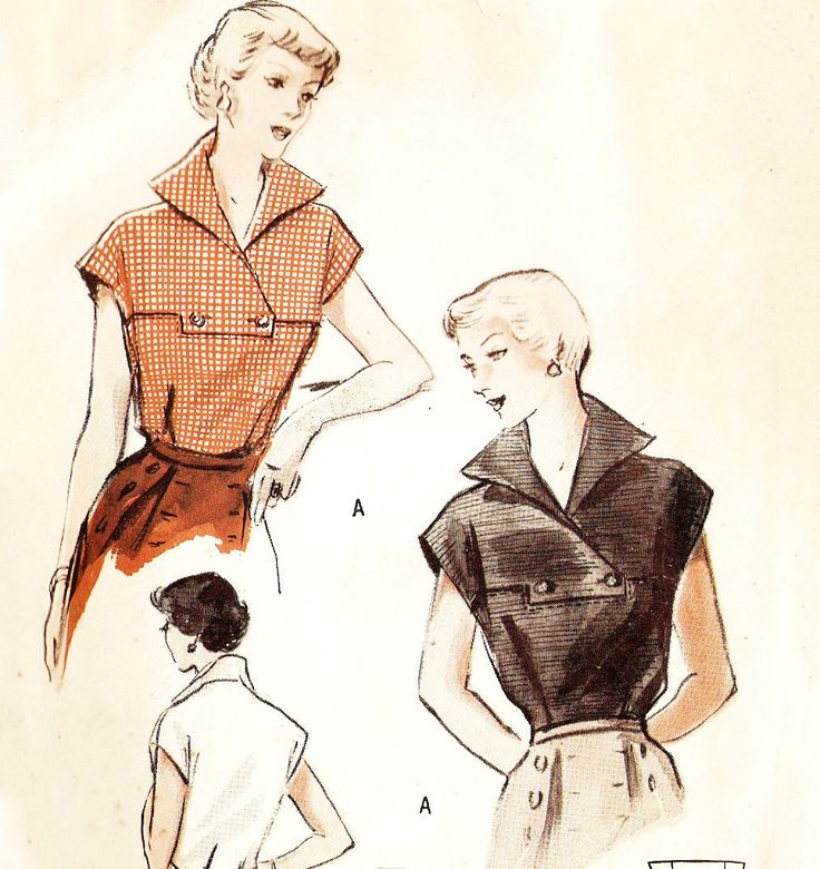 Butterick 5238 Misses' Vintage 1950s Tailored Blouse with Wing Collar Sewing…
