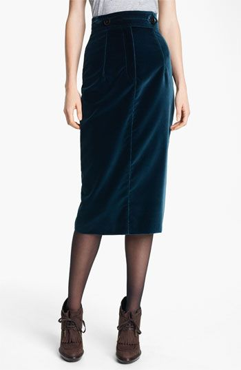 Burberry Prorsum Velvet Pencil Skirt:: oversized  buttons at the tabbed waistband give a nostalgic look to an elongated pencil skirt tailored in wonderfully tactile velvet.  Front zip with button-tab closure; interior anchor buttons.  Back vent. $354.