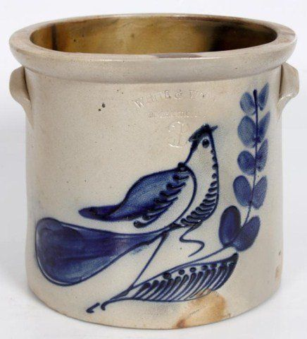Lot: 166: 3 Gallon Stoneware Cobalt Crock, Lot Number: 0166, Starting Bid: $150, Auctioneer: Fontaines Auction Gallery, Auction: Antique & Asian Auction, Date: October 20th, 2012 EDT