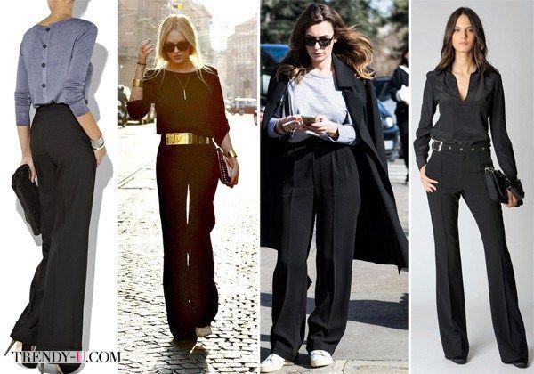 Черные широкие брюки на модницах