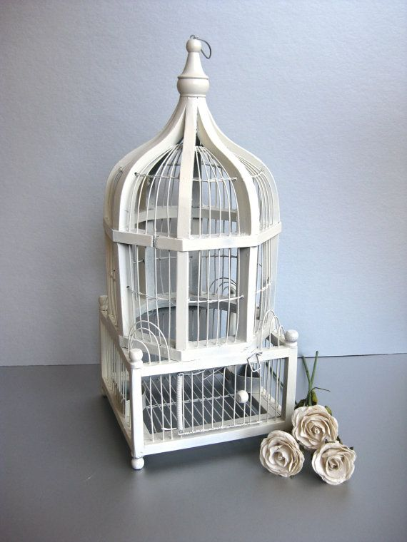 Vintage Bird Cage Shabby and Chic White Birdcage by Swede13