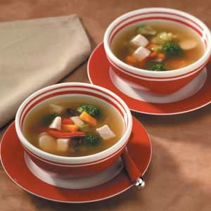 Chinese Chicken Soup Recipe -This attractive simple soup begins with frozen stir-fry vegetables. Convenient refrigerated minced gingerroot adds to the Asian flavor.