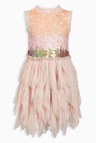 Turn your tot into a sugar plum fairy in this sequined petal dress!