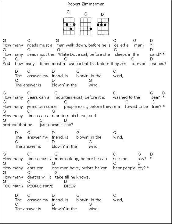 Blowing in the Wind, Bob Dylan. Y | Guitar Chords | Pinterest | Bob ...