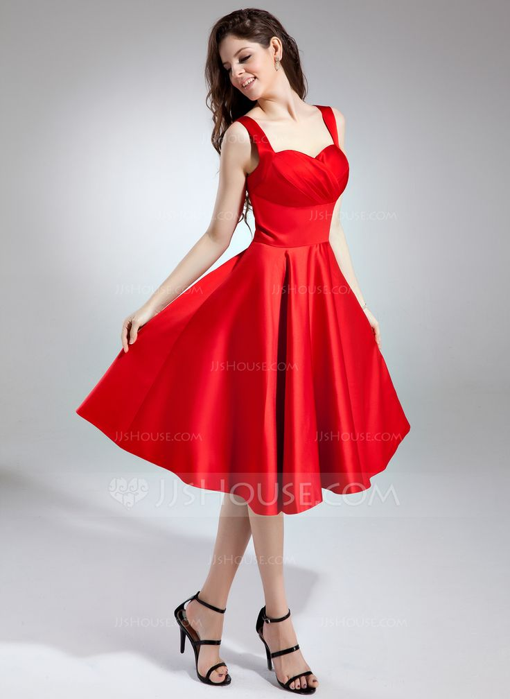 A-Line/Princess Sweetheart Knee-Length Satin Bridesmaid Dress With Ruffle (020037402) - JJsHouse