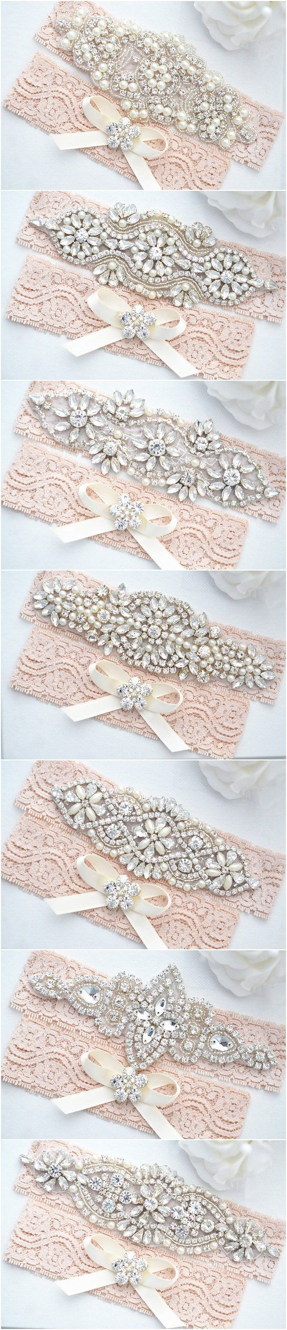 Blush Pink Lace Wedding Garter Sets / http://www.deerpearlflowers.com/wedding-garters-sets-from-etsy/4/