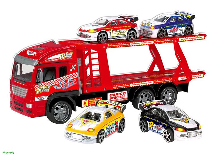 CAMION BISARCA CON 4 AUTO DA CORSA cm 41x10x18 per Bambini 3 anniIl Camion Bisarca per trasportare ed organizzare il GrandPrix delle Auto da Corsa. Divertirsi con 4 Auto da corsa a ruote libere ed il Camion con movimento a frizione è emozionante.Dimensioni Camion cm 41 x 10 x 14Dimensioni Auto da Corsa cm 11,5 x 6 x 4,5Dimensioni Scatola cm 11,5 x 6 x 4,5Materiale: plastica.Adatto per bambini di eta' superiore a 3 anniMarchio CE