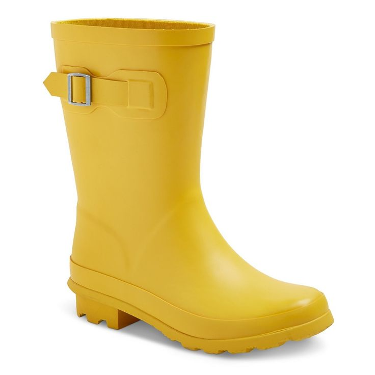 Toddler Girls' Tall Buckle Matte Rain Boots Cat & Jack- Yellow 13, Toddler Girl's