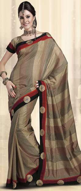 Beige Printed Art Silk Saree With Blouse | $35.86 | Shop Here: http://www.utsavfashion.com/store/sarees-large.aspx?icode=sma2165