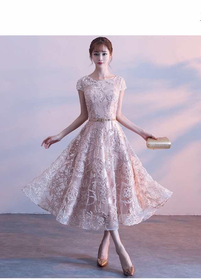 6fc81c1e63c92 上品さ ミディアム丈ドレス パーティドレス イブニングドレス 演奏会 ウェディングドレス お呼ばれドレス 披露宴