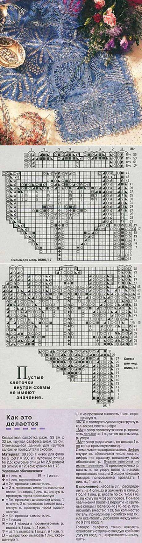 Ажурные квадратная и круглая салфетки спицами