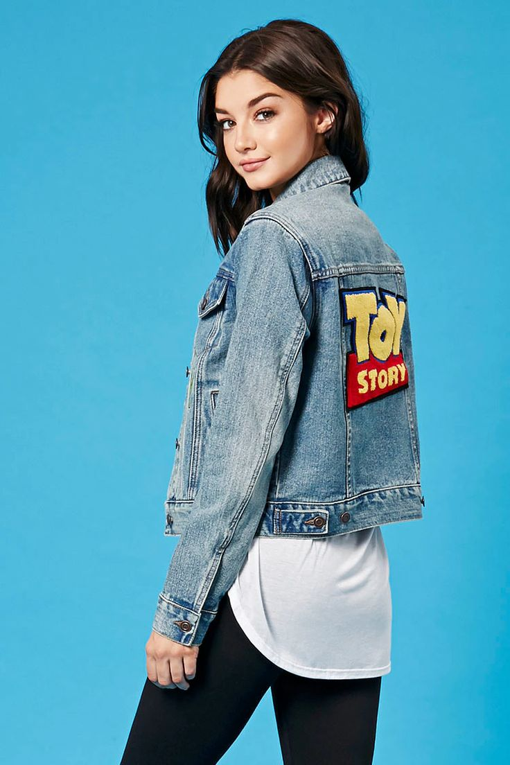 "A denim jacket from our exclusive Forever 21 x Pixar Collection featuring assorted Toy Story embroidered graphics including a ""Woody"" graphic on the chest, a Toy Story logo on the back, a buttoned front, basic collar, dual flap chest pockets, and slanted front pockets."