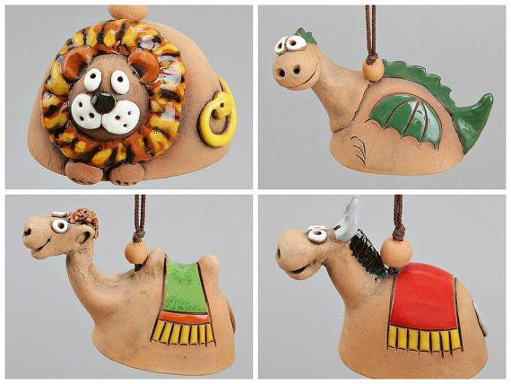 Small Ceramic Bells: Dragon, Lion, Camel, Horse. Scool Accessory, Christening Souvenir, Children Toy.