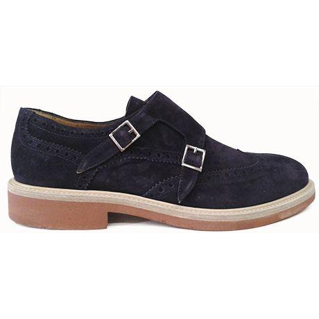 Zapato monkstrap en ante azul con doble hebilla de Pertini vista lateral