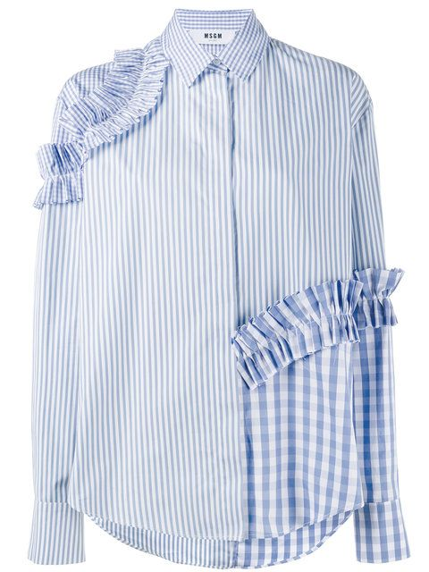 Модель рубашки, оригинальная отделка рюшами