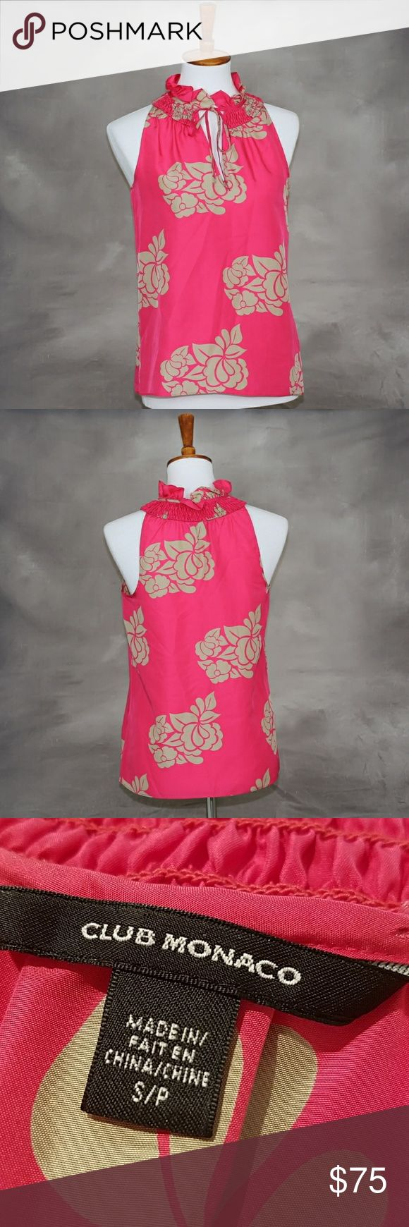 Final sale $FIRM Club Monaco 100% silk blouse Club Monaco 100% silk sleeveless blouse. Hot pink with tan flowers. Ruffle neck with front tie. Excellent like new condition. Club Monaco Tops Blouses