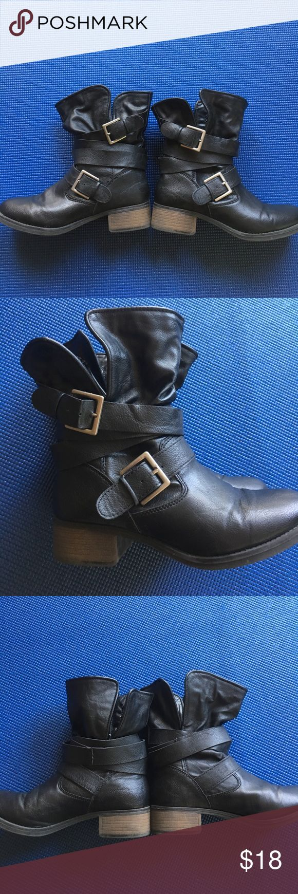 Black Moto Boots Black with silver buckles Cathy Jean Shoes Combat & Moto Boots