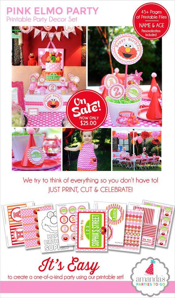 Girl Elmo Birthday Decorations | Pink Elmo Party Printable | Girl Sesame Street Birthday | Elmo 1st Birthday | Amanda's Parties To Go