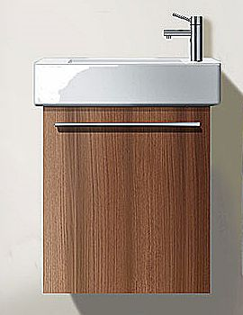 Duravit Vero Basin 500mm On X-Large Furniture 460mm - XL6208L0404  X-Large Vanity unit in Teak Wood Finish  Size of Vanity unit is 460mm [W] x 230mm [D] x 448mm [H]  Vero Handrise Basin in White Alpin Finish  Size of Washbasin is 500mm [W] x 250mm [D]  LH or RH door options  also available in wenge finish (teak shown)  £369