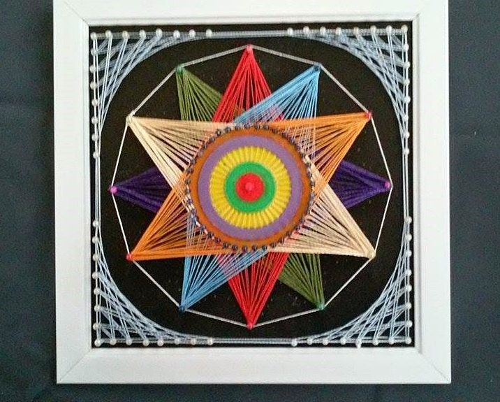 Colourful Star 12 corners- String Art by SmARTcraftBoutique on Etsy