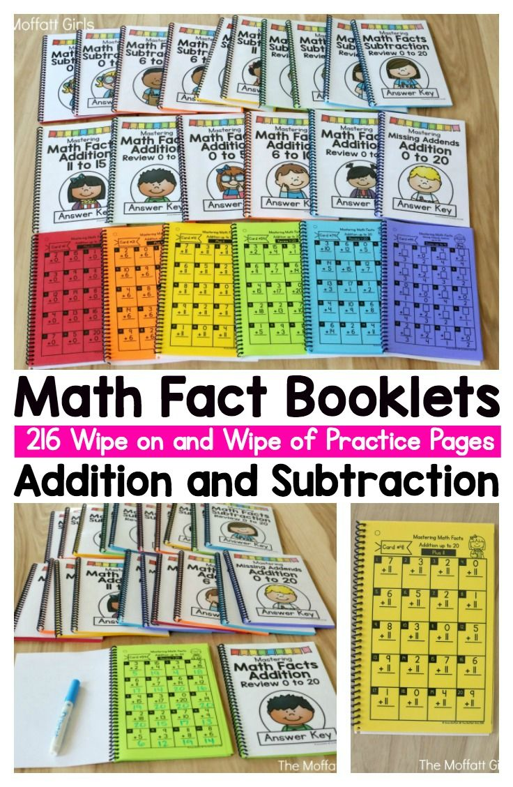Math Fact Booklets for Addition and Subtraction- These booklets are simple and effective to help students practice their basic math facts. Plus, they come with answer keys so that children can self-check their work! What a time saver!