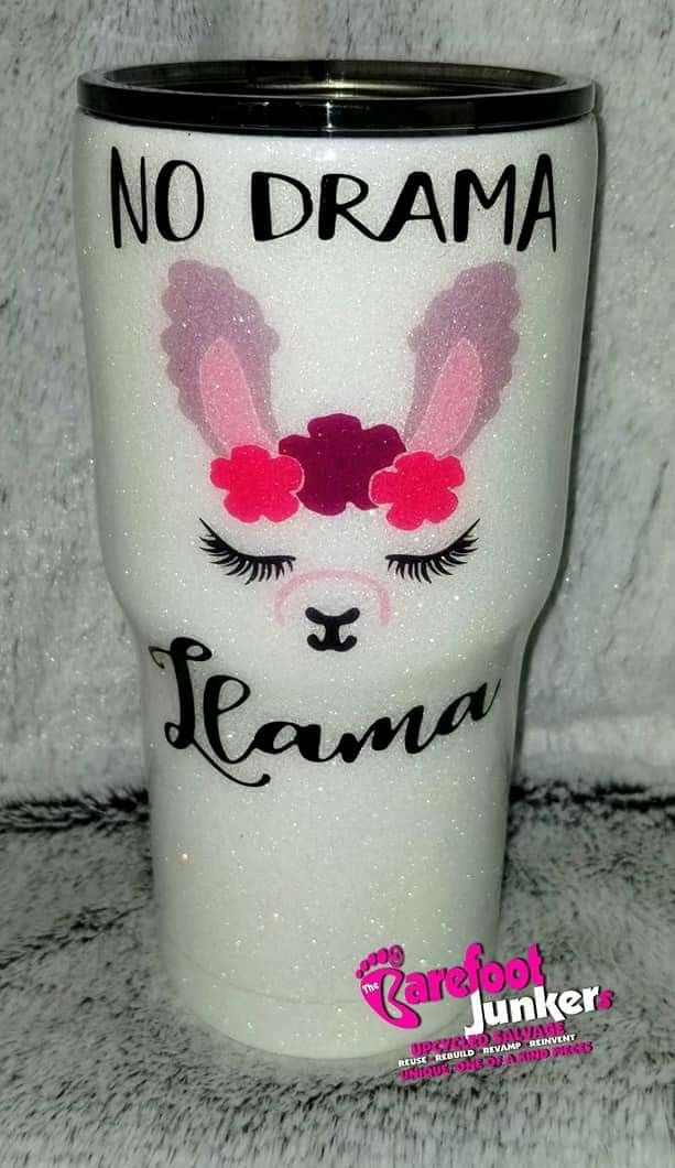 Stainless 30oz Epoxy Glitter Custom Tumbler No Drama Llama Drink In Color The Barefoot