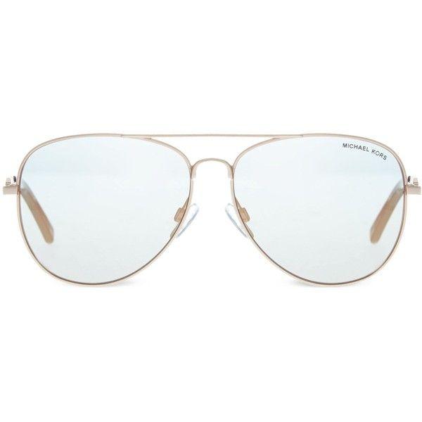 Michael Kors MK1003 Fiji aviator sunglasses ($210) ❤ liked on Polyvore featuring accessories, eyewear, sunglasses, michael kors sunglasses, aviator style glasses, wire glasses, aviator glasses and michael kors
