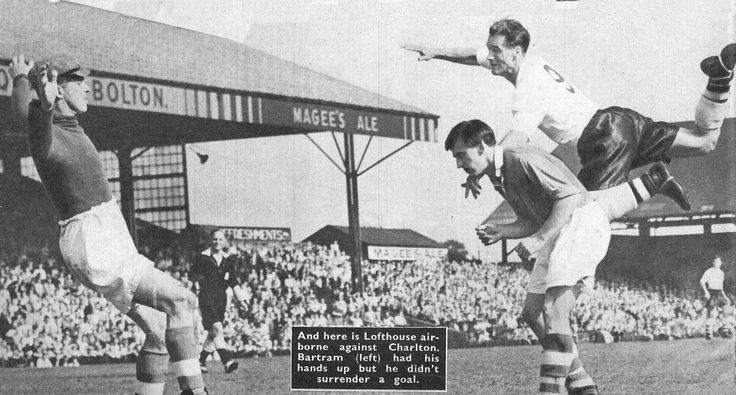27th August 1955. Bolton Wanderers and England centre forward Nat Lofthouse heads over the bar against Charlton Athletic.