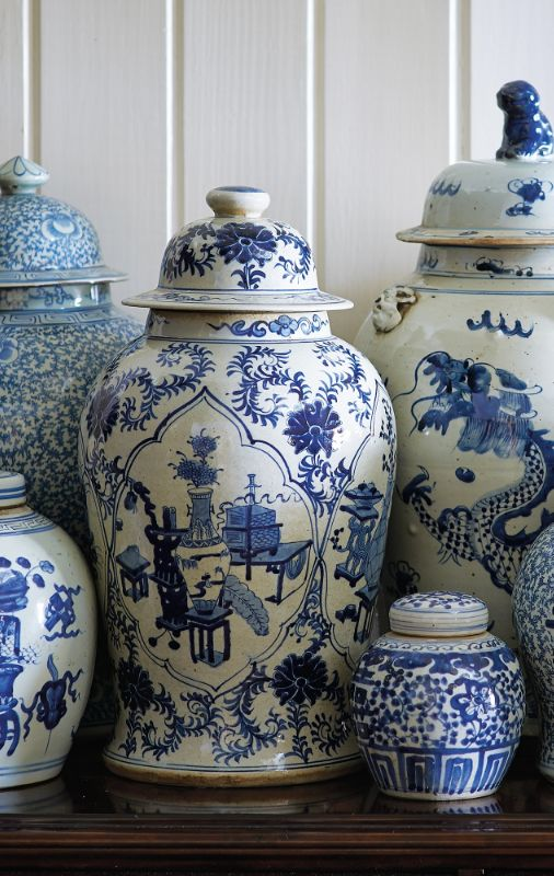 The most characteristic example of Chinoiserie, vibrant blue and white porcelain jars enliven a tabletop or mantel with their dynamic designs.