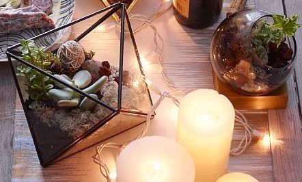 Candles and succulents setup in fish bowl