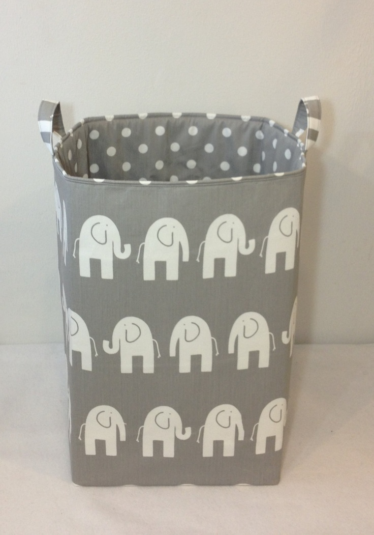"Customize Laundry Hamper Toy Bin 13""x13""x21"" Laundry Basket Storage Bin Organizer White Elephant on Grey with White Dot on Grey Lining. $90.00, via Etsy."