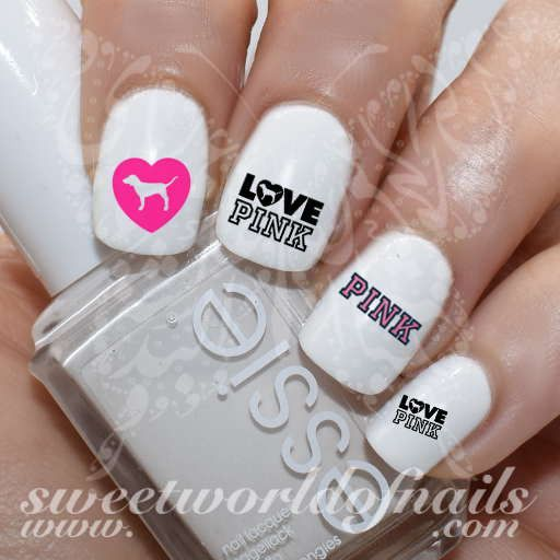 Victoria Secret Love Pink Nail Art Nail Water Decals Transfers Wraps