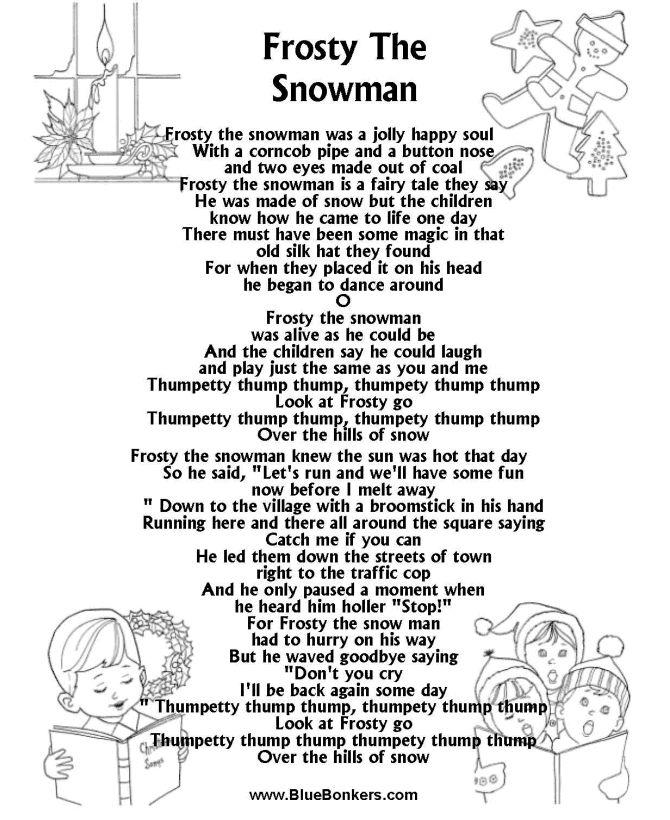 frosty the snowman lyrics Frosty the Snowman Free