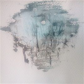 Misty night moon by Hannele Rajala