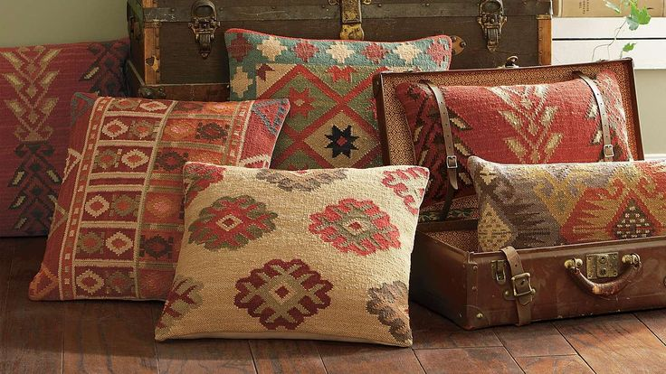 Mmmmm….need one of each for my burnt orange room!  Kilim Indoor Throw Pillows, Grandin Road Color Crush on Burnt Orange