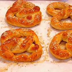 "Mall Pretzels | ""Those big, soft pretzels rolled in coarse salt are yours to bake at home with basic bread ingredients you probably already have in your pantry."""