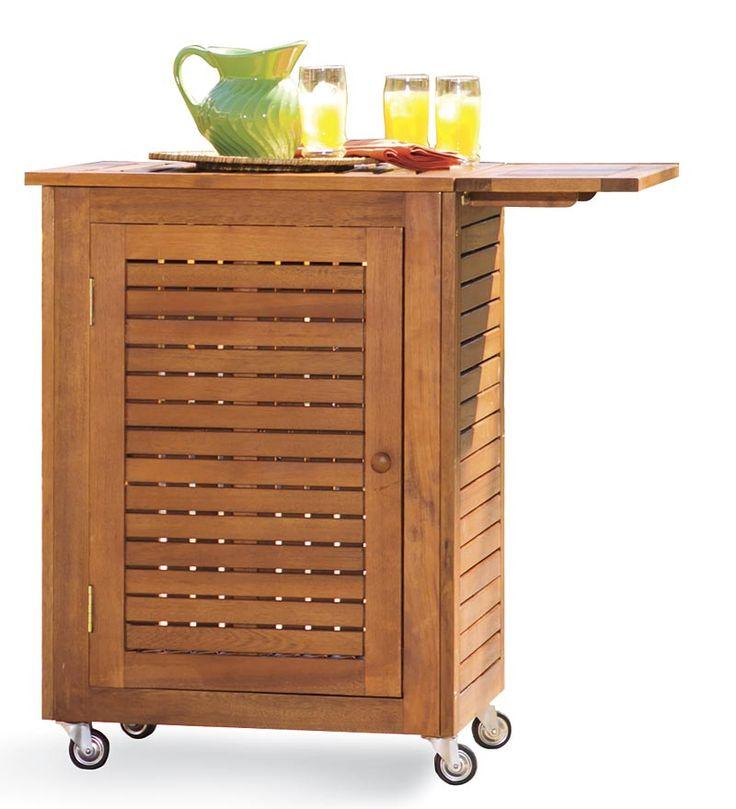 Wonderful Small Eucalyptus Outdoor Storage Cart Ideal For Entertaining